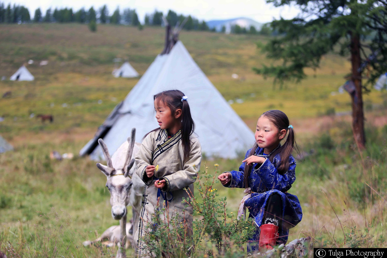 Tsaatan Reindeer Herder Tribe Children